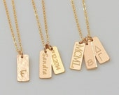 14K Gold Name Bar Necklace, Personalized Vertical Bar Pendant Necklace, Delicate Silver Nameplate Necklace, Rose Gold Name Jewelry