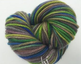 Cashmere Yarn, Aran weight, Vivid Green with Dull Brown and Purple