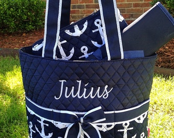 New 3 Piece Navy Anchor Diaper Bag Set Includes Name or  Monogrammed Initials