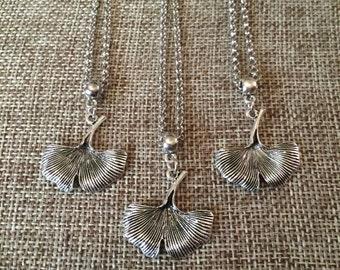 SUMMER SALE Gingko Leaf Necklace in Silver / Silver Gingko Leaf Pendant / Layering Necklace / Bohemian Necklace / Gingko Leaf Charm Necklace