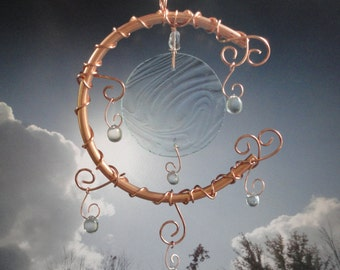 "Metal and Glass Moon Sculpture, Wind Chime, Winter, Ice, Mobile, Window Hanging, Home Decor, Garden Art, Celestial, ""Frosted and Frozen"""