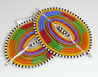 Color Shields - seed beads, artistic wire, sterling link and posts
