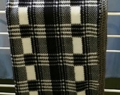Black/White Check Fleece Lap Throw, Small Blanket, Toddler Cover, Finished Crochet Edges