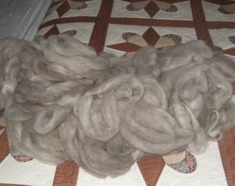 4 oz silvery taupe grey llama roving LIGHTNING plus white Suri