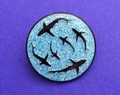 Shark Glitter Enamel Pin Badge - Lapel Pin, Tie Pin