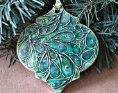 Ceramic Christmas Ornament Peacock Green edged in gold