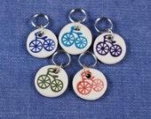 Round Porcelain Stitchmarkers Set of 5 Bikes