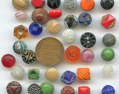 Colorful Lot of (36) Assorted Teeny Itsy Bitsy Vintage glass buttons Czech Czechoslovakia Small Painted 2498