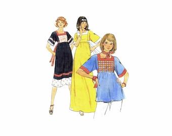1970s Misses Boho High Waist Dress or Top Butterick 4795 Vintage Sewing Pattern Size 10 Bust 32 1/2 UNCUT