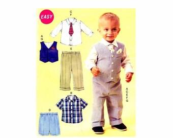 Infant Boys Vest Shirt Shorts Pants Tie Pocket Square McCalls P339 Sewing Pattern Size Nbn - Sml - Med - Lrg - Xlg UNCUT