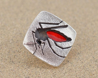 Mosquito Pin - Sterling Silver and Resin Enamel - Lapel Pin or Tie Tack