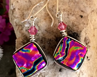 Dichroic Glass Earrings, Bright Magenta Pink  Wire-Wrapped with Sterling Hooks
