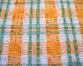 Vintage cotton blend  seersucker fabric plaid, orange, kelly green, white