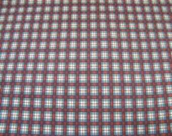 Vintage Cotton fabric plaid red, grey white, window pane Breton Plaid?