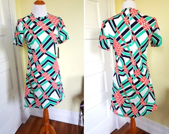 Vintage Geometric Scooter Dress - New with Tags