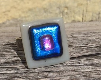 Blue and Grey Fused Dichroic Glass On Sterling Silver Ring
