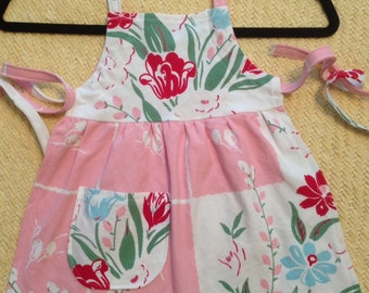 Vintage Floral Tablecloth Girls Full Apron small medium