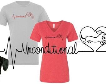 Dachshund Unconditional Love Heartbeat T-shirt