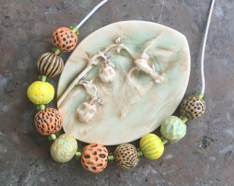 Autumn seed pods handmade porcelain bead necklace -sale