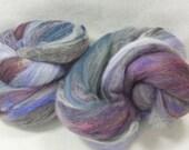 CLEARANCE Hand Dyed & Carded Batts 2.7 oz - merino, BFL, silk, angelina, Michigan roving, blue, purple - Foxy Batt 4-24