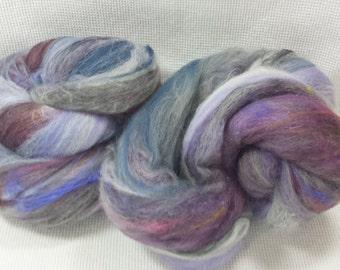 Hand Dyed & Carded Batts 2.7 oz - merino, BFL, silk, angelina, Michigan roving, etc. A Potluck of Fiber - blue, purple - Foxy Batt 4-24