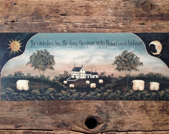 Heaven's Watchful Gaze, a pastoral landscape, sheep farm print. New England style Primitive Folk Art by Donna Atkins. Sun, Moon, Farmhouse.