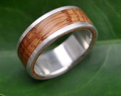 Size 9.5 READY TO SHIP - Lados Bourbon Barrel Oak Wood Ring - recycled sterling silver and bourbon wood wedding band, mens wood ring