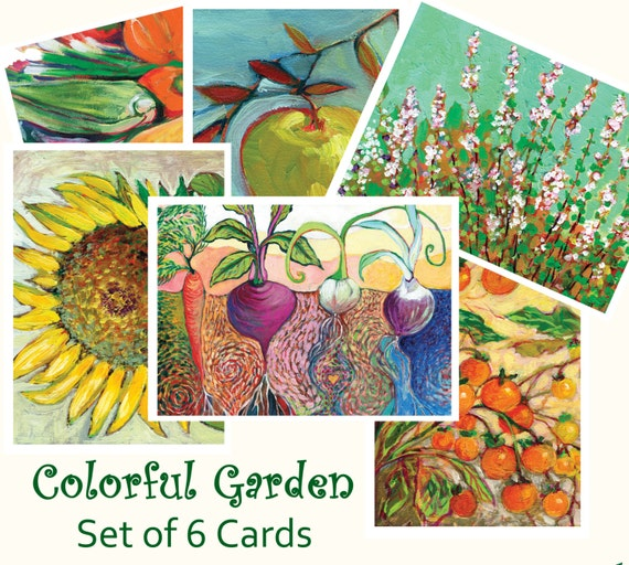 Colorful Garden - set of Blank Note Cards by Jenlo
