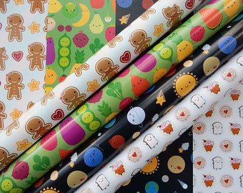 Pick 'n' Mix Gift Wrap - any 5 sheets - 4 kawaii designs
