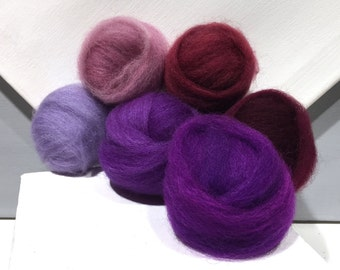 "Purple roving sampler, Felting wool kit, ""The Colors Purple"" lavender, purple, violet, wine, merlot, wool roving kit, blending fibers"