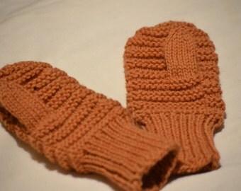 Madder Small Child Hand Knit Mittens