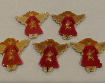 Mill Hill Hand Painted Ceramic Buttons-Prim Angels-All profits go to charity