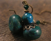 Emerald green Australian jasper stone, swarovski crystal and antique brass handmade earrings