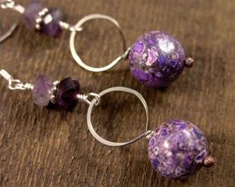 Purple conglomerate stone earrings, genuine amethyst gemstone and silver ring handmade earrings