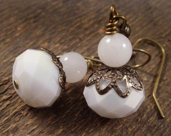 SALE White large faceted glass beads, snow quartz stone and antique brass handmade earrings