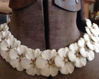 Vintage 1950's white flower necklace with rhinestones centers and Brass chain
