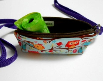 Dog Bag Holder Zipper Pouch with Key Ring ECO Friendly Padded  NEW Flapper Owls
