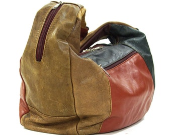 80s Slouchy Leather Hobo Bag / Vintage 1980s Large Patchwork Purse with Shoulder Strap / Boho Rocker Hippie Bohemian Crescent Tote