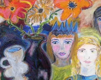 """Original painting, """"The Queen and the Princesses"""", acrylic on canvas, 18"""" x 24"""""""