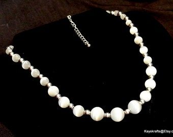 Glass Necklace, White Glass Bead Necklace, White And Silver Bead Necklace, 1970 Glass Bead Necklace, Gift For Her