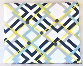 Aqua Navy Gray Geometric Memory Board, Square French Memo Board, Geometric Fabric Ribbon Board, Yellow Ribbon Bulletin Board, Pin Board