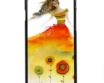 "Phone Case ""Aphrodite Rising"" - Watercolor Art Giclee Print Red Flower Summer Autumn Fashion Sketch Girl Fairy Princess By Olga Cuttell"