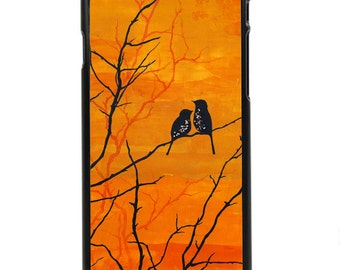 "Phone Case ""Moment of Silence"" - Fine Art Giclee Print Orange Fall Sunset Painting Dusk Autumn Robins Birds By Olga Cuttell"