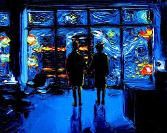 Fight Club Art METAL print van Gogh Never Watched The World Burn starry night Final Scene Aja 8x8, 10x10, 12x12, 16x16, 20x20, 24x24, 30x30