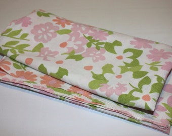 Fabric, yard good, pink green white floral, reclaimed linen, reclaimed sheet, sewing, quilting, crafting, home decor