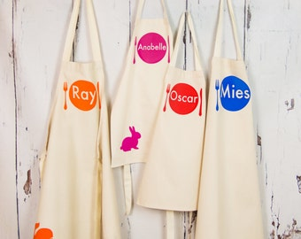 Personalized Apron Set - Choose any 4 personalised aprons, birthday gift, kids apron, girls apron, boys apron, gift for baking, chef gift