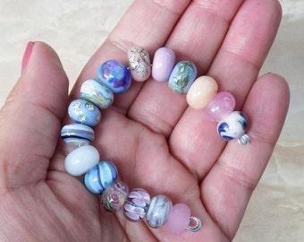 Pretty Pastel Lampwork bead set