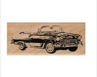 rubber stamp 1950 classic car  lady number 4880 stamps stamping
