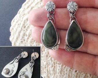 Imperial Jasper Green Stone Dangle Earring, Sterling Silver Flower Earrings, Artisan Metalsmith, Nature Lover Gift, Silversmith Leaf Dangle