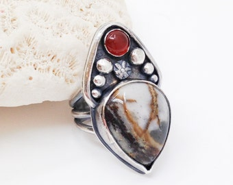 Jasper and Carnelian Dual Stone Ring, Size 7 1/4, Artisan Handcrafted Silversmith Ring, Floral Statement Ring, Large Bohemian Ring